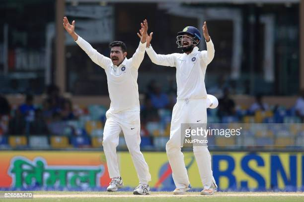 Indian cricketers Ravindra Jadeja and Lokesh Rahul appeal unsuccessfully during the 3rd Day's play in the 2nd Test match between Sri Lanka and India...