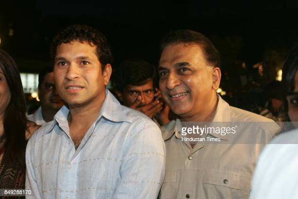 Indian cricketers Sachin Tendulkar and Sunil Gavaskar