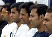 Indian cricketers Sachin Tendulkar captain Sourav Ganguly vicecaptain Rahul Dravid WS Laxman and Virender Sehwag pose photographers during a cricket...