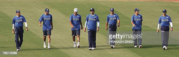 Indian cricketers Venkatsai Laxman Zaheer Khan Rudra Pratap Singh Yuvraj Singh Murali Kartik Saurav Ganguly and Rahul Dravid arrive for a training...