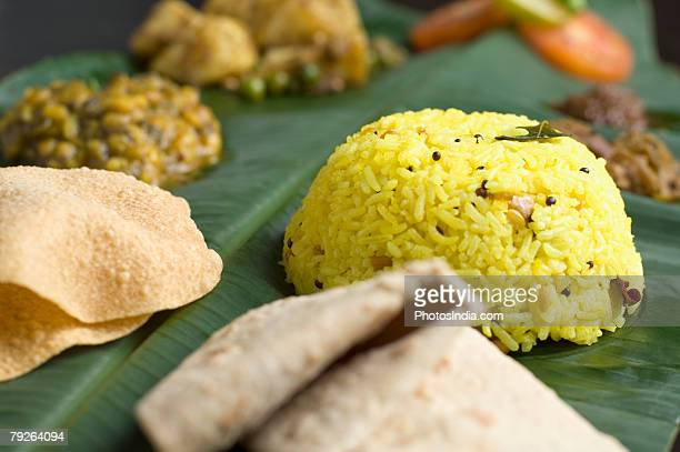 Indian cuisine served on a banana leaf