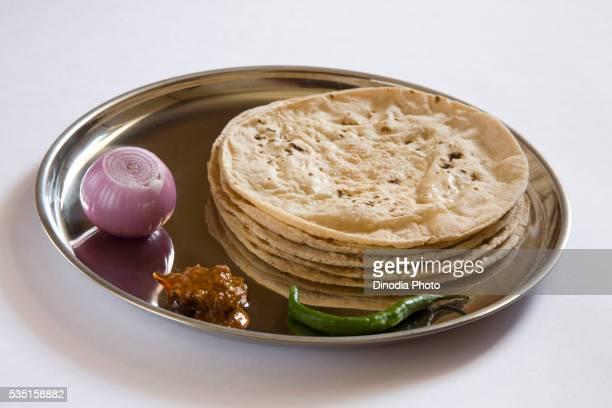 Indian cuisine with roti chapati.