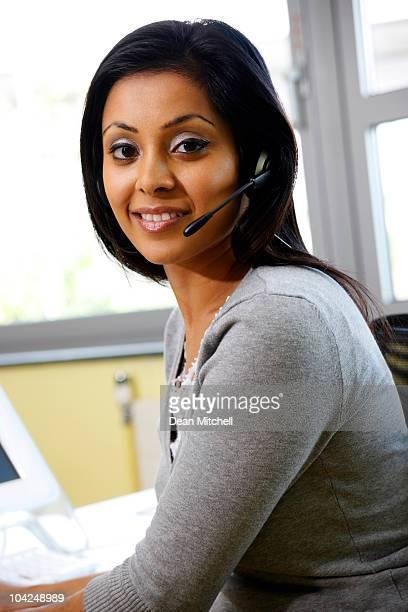 Indian customer service operator at work