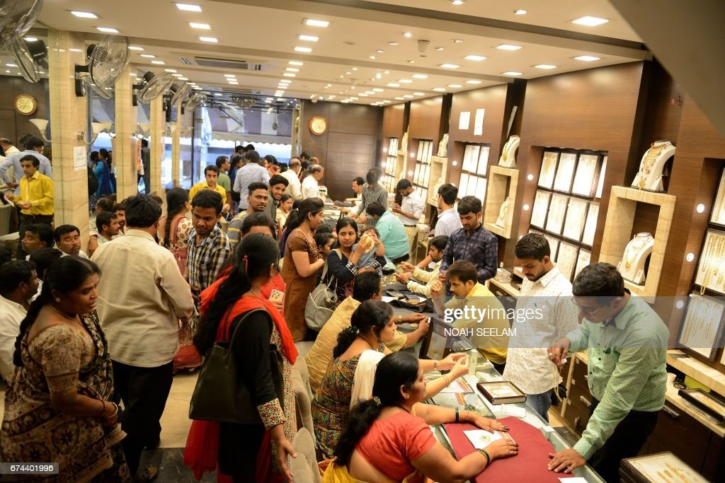 Indian Customers Gather To Purchase Gold Items In A Jewellery Shop Hyderabad On April 28