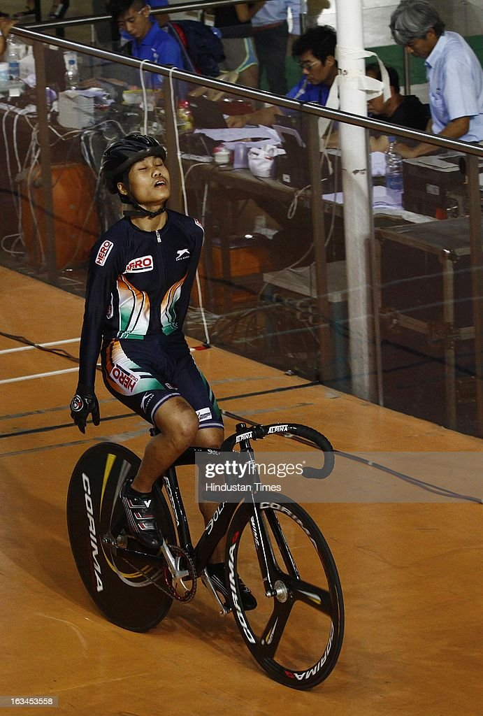 Indian Cyclist Deborah after wining the Bronze Medal in Team Sprint Women Junior finals during the Asian Cyclist Championship at IG Cycling Velodrome on March 10, 2013 in New Delhi, India.