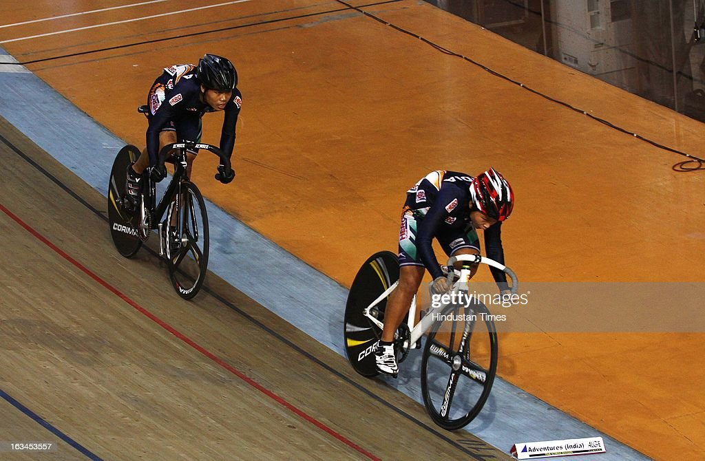 Indian Cyclist Deborah (Back) and T. Manorama (Front ) wins Bronze Medal in Team Sprint Women Junior finals during the Asian Cyclist Championship at IG Cycling Velodrome on March 10, 2013 in New Delhi, India.