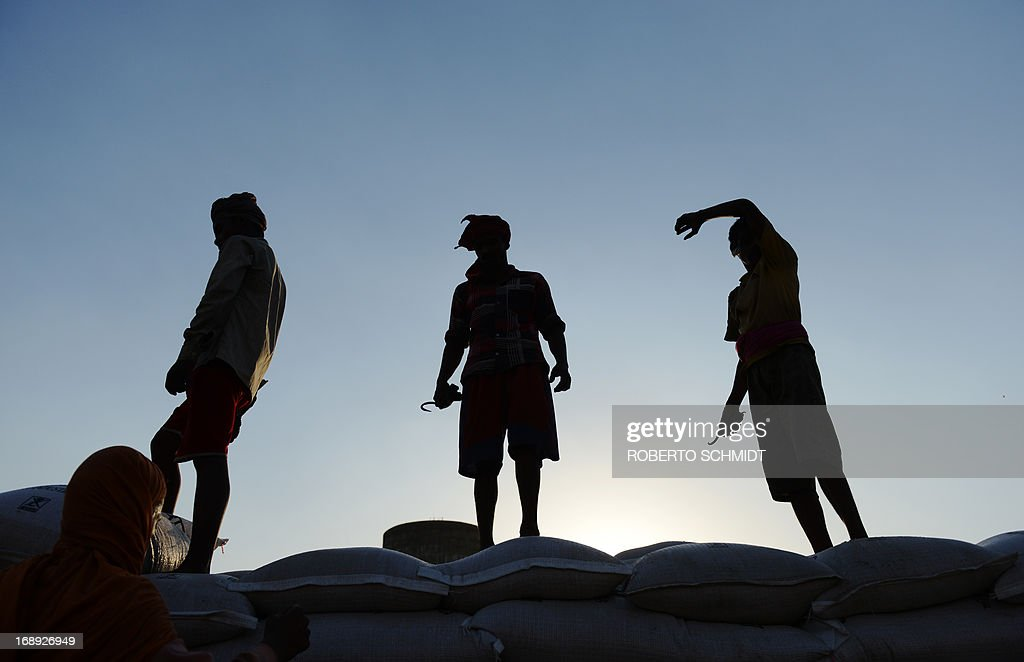 Indian daily-wage labourers stand on 50 kilo sacks of wheat as they load a truck at a grain distribution point on the outskirts of Amritsar on May 16, 2013. This years wheat harvest is expected to be more bountiful than last year, India's Agriculture Ministry said recently. India which is the second largest producer of wheat in the world is expected to produce about 93.6 million metric tons. Some reports estimate that this will mean a decrease in the local price of wheat and a boost in exports due to the large surplus of grain stored.