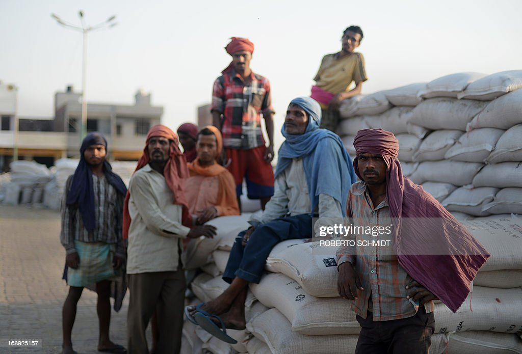 Indian daily-wage labourers take a rest from loading 50 kilo sacks of wheat onto a truck at a grain distribution point on the outskirts of Amritsar on May 16, 2013. This years wheat harvest is expected to be more bountiful than last year, India's Agriculture Ministry said recently. India which is the second largest producer of wheat in the world is expected to produce about 93.6 million metric tons. Some reports estimate that this will mean a decrease in the local price of wheat and a boost in exports due to the large surplus of grain stored.