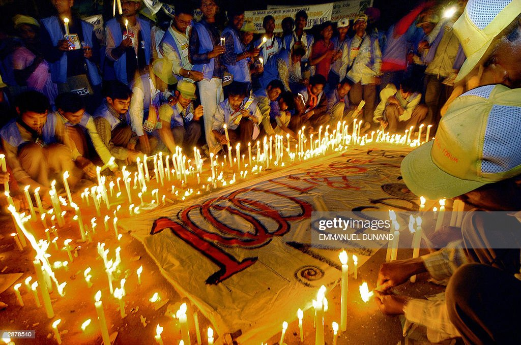 Indian Dalits members of Hinduism lowest caste lit '100 candles of freedom' to call attention to their plea at the 2004 World Social Forum in Bombay...
