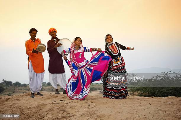 Indian dance troupe in Pushkar desert