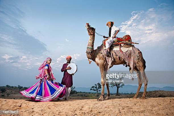 Danseur et musiciens indiens