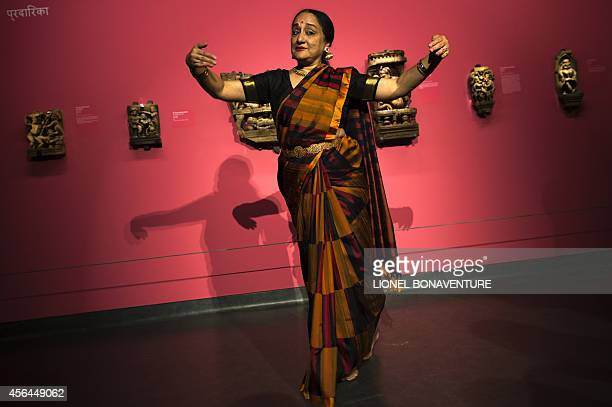 Indian dancer Lakshmi Vishwanathan performs during the exhibition The KamaSutra spirituality and erotism in Indian art at the Paris' pinacotheque on...
