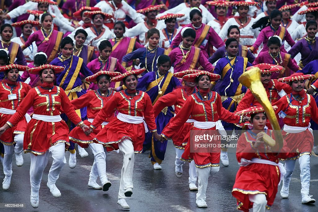Indian dancers perform during India's Republic Day parade in New Delhi on January 26 2015 Rain failed to dampen spirits at India's Republic Day...