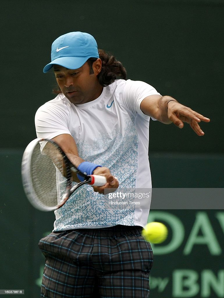 Indian Davis Cup player Leander Paes during the practice session at DLTA on January 30, 2013 in New Delhi, India. After the rebellion by top Indian tennis players AITA has fielded an inexperienced team for the Davis Cup tie against South Korea that will begin on February 1.