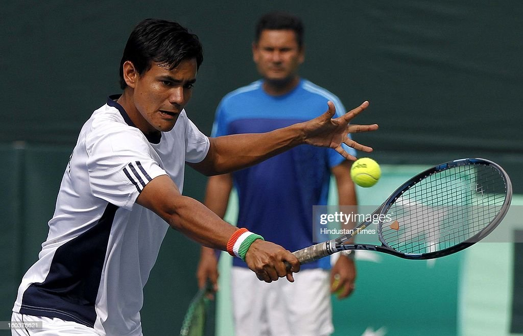Indian Davis Cup player Vijayant Malik during the practice session at DLTA on January 30, 2013 in New Delhi, India. After the rebellion by top Indian tennis players AITA has fielded an inexperienced team for the Davis Cup tie against South Korea that will begin on February 1.