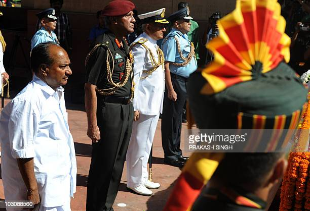 Indian Defence Minister A K Anthony Indian Air Force Chief Pradeep Vasant Naik Indian Navy Chief Admiral Nirmal Verma and Vice Chief of Indian Army...