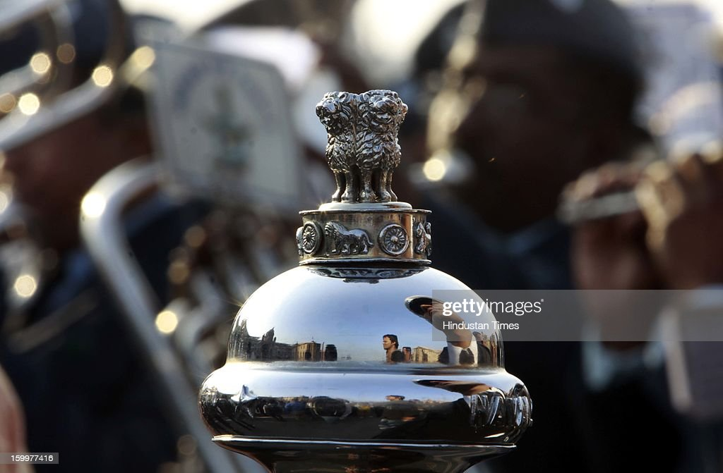 Indian Defence personnel are playing band as rehearsal for preparation of Beating Retreat Ceremony at Raisina Hill, on January 24, 2013 in New Delhi, India. The ceremony symbolises retreat after a day on the battlefield, and marks the official end of the Indian Republic Day celebrations. It is held every year on January 29.