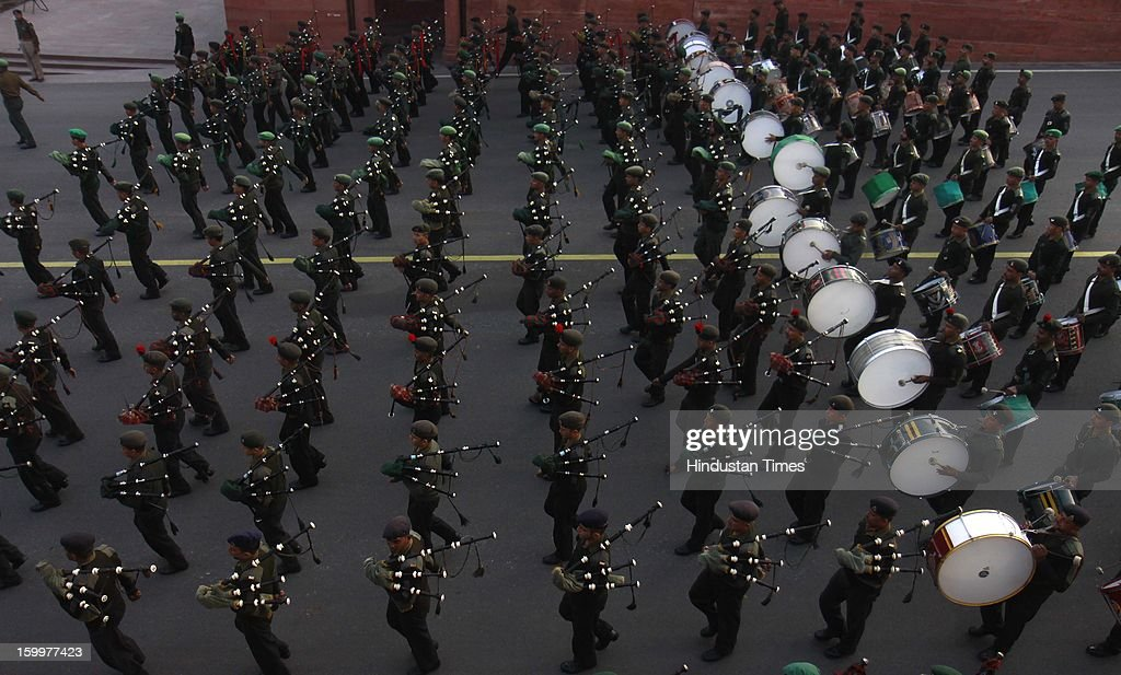 Indian Defence personnel are playing band as rehearsal for preparation of Beating Retreat Ceremony at Raisina Hill, on January 24, 2013 in New Delhi, India. This ceremony revives an ancient war custom according to which troops used to stop fighting at sunset. This ceremony held on the 29th of January every year, marks the formal end of the Republic Day celebrations.
