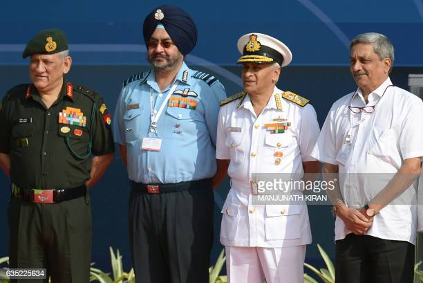 Indian Defense Minister Manohar Parrikar Indian Navy Chief Sunil Lanba Indian Air Force Chief Birender Singh Dhanoa and Indian Army Chief Bipin Rawat...