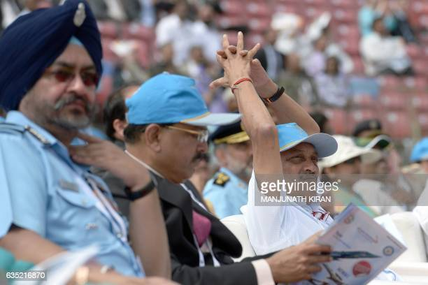 Indian Defense Minister Manohar Parrikar National Security Advisor Ajit Doval and Air Chief Marshal of the Indian Airforce Birender Singh Dhanoa...