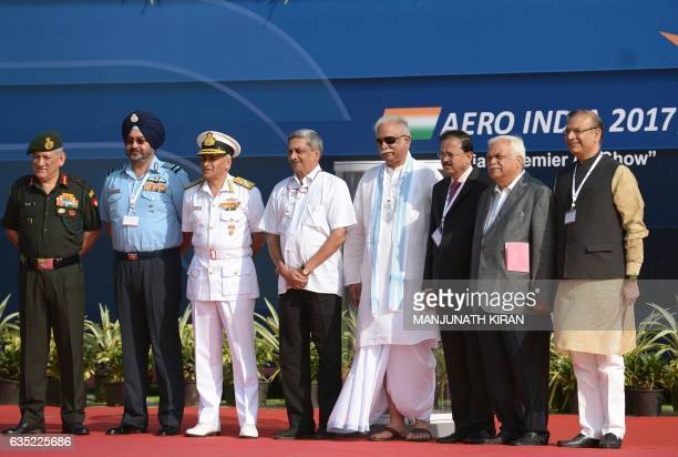 Indian Defense Minister Manohar Parrikar National Security Advisor Ajit Doval Air Chief Marshal of the Indian Air Force Birender Singh Dhanoa and...