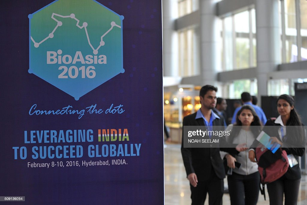 Indian delegates attend the BioAsia 2016 conference at the Hyderabad International Convention Centre (HICC) in Hyderabad on February 9, 2016. The 13th edition of BioAsia is expecting strategic partnerships and investment announcements of over 100 million USD over the course of the three-day event. AFP PHOTO / Noah SEELAM / AFP / NOAH SEELAM
