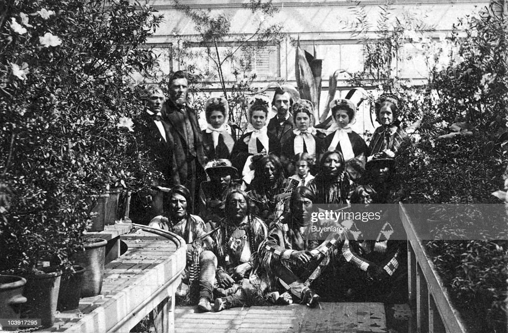 Indian delegation in the White House Conservatory during the Civil War with JG Nicolay President Abraham Lincoln's secretary standing in center back...