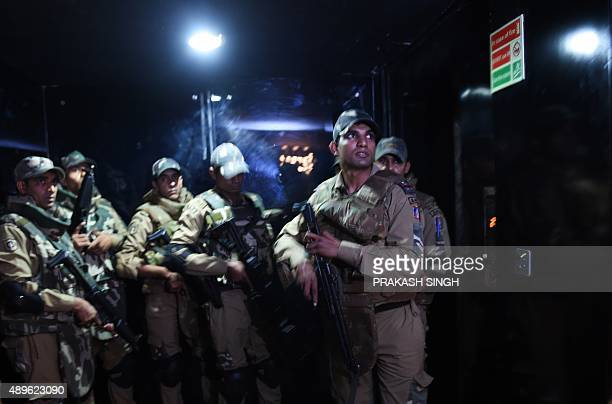 Indian Delhi police SWAT commandos take part in a mock terror drill at a cinema hall in New Delhi on September 23 2015 The drill was organised by the...