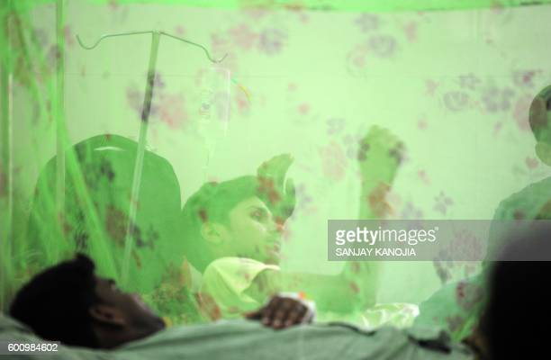 TOPSHOT Indian dengue patient Vijay Pratap Singh lies under a mosquito net in the dengue ward of a government hospital in Allahabad on September 9...