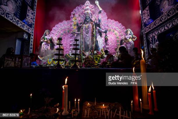 Indian devotees light candles to celebrate the Hindu festival of Diwali the annual festival of lights in India during of the FIFA U17 World Cup India...