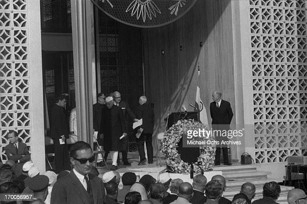 Indian dignitaries pay tribute to assassinated President John F Kennedy at a memorial service at the US Embassy on November 25 1963 in New Delhi India