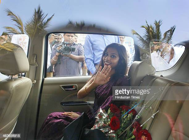Indian diplomat Devyani Khobragade leaves after visiting Chaitya Bhoomi a memorial to Indian freedom fighter BR Ambedkar on January 14 2014 in Mumbai...