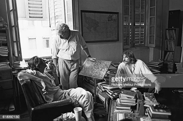 Indian director Satyajit Ray with the French actor Gerard Depardieu and French producer Daniel Toscan du Plantier