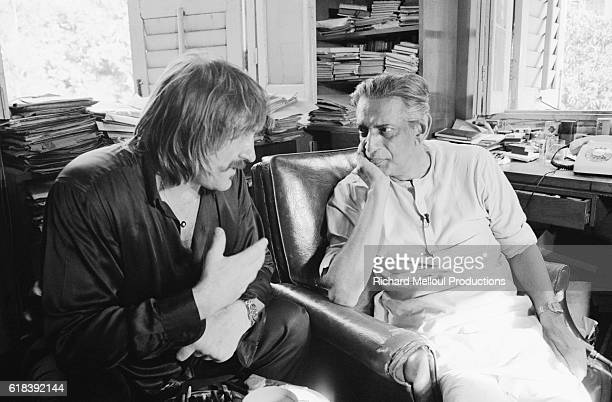 Indian director Satyajit Ray with the French actor Gerard Depardieu