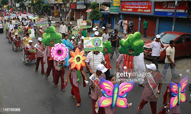 Indian disabled children participate in a rally on World Environment Day in Siliguri on June 5 2012 World Environment Day is celebrated every year on...