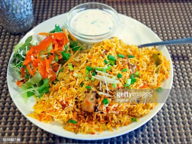 Indian dish biryani served at an Indian restaurant in Tokyo