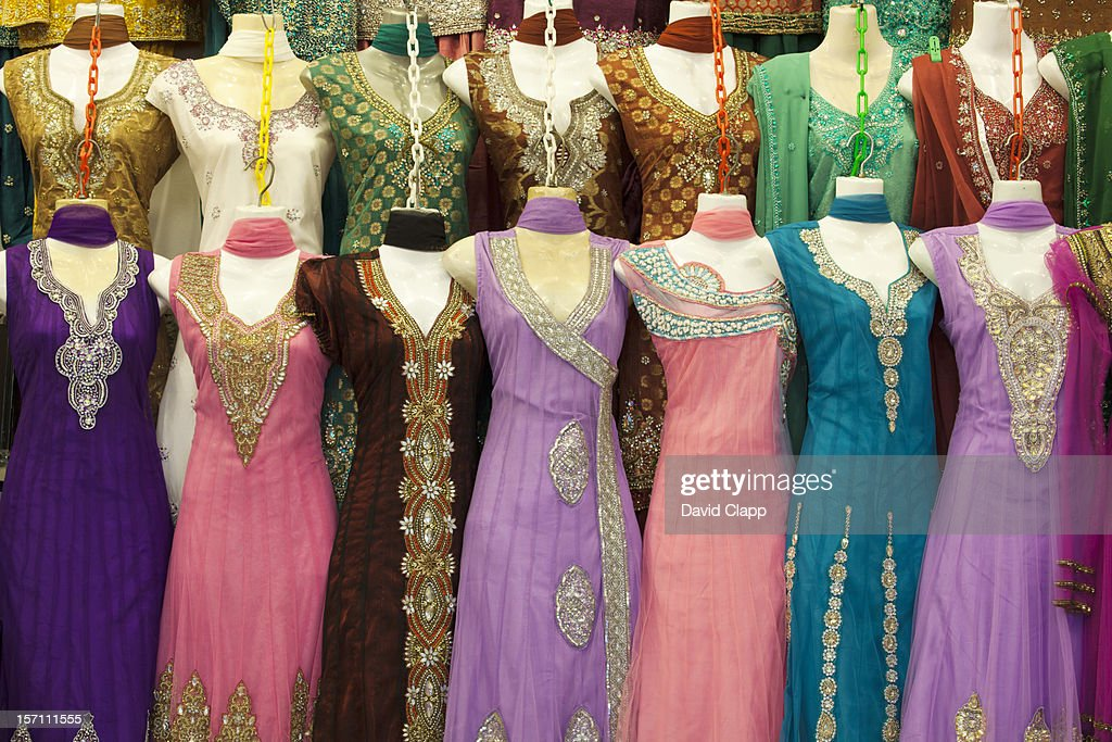 Indian dresses, Little India, Singapore : Stock Photo