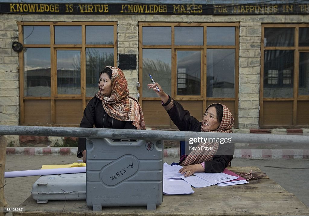 Indian election workers check voting machines as they prepare to distribute them to workers at a central collection point before heading to polling stations, on May 6, 2014 in Leh, Ladakh, India. India is in the midst of a nine phase election that began on April 7th and ends on May 12th. Ladakh voters will vote on May 7th.