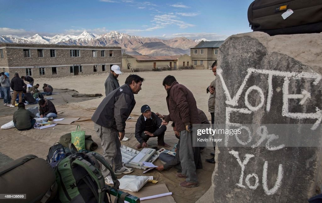 Indian election workers check voting machines before leaving a central collection point for polling stations, on May 6, 2014 in Leh, Ladakh, India. India is in the midst of a nine phase election that began on April 7th and ends on May 12th. Ladakh voters will vote on May 7th.