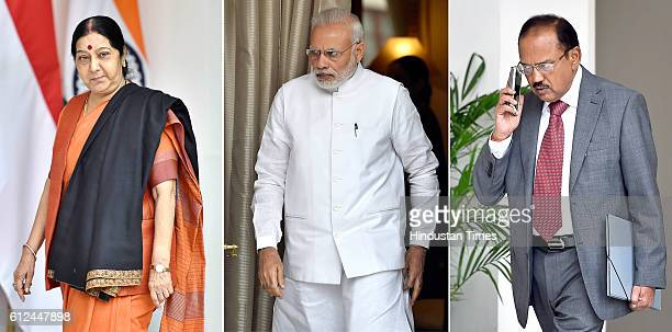 Indian External Affairs Minister Sushma Swaraj Prime Minister Narendra Modi National Security Advisor Ajit Doval prior to a meeting with Singapore...