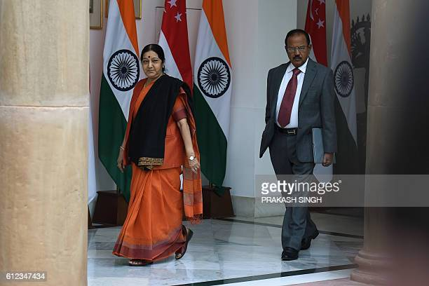 Indian External Affairs Minister Sushma Swaraj walks with National Security Advisor Ajit Doval in New Delhi on October 4 2016 Last week India...