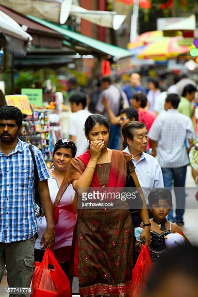 Indian family is shopping in Chinatown
