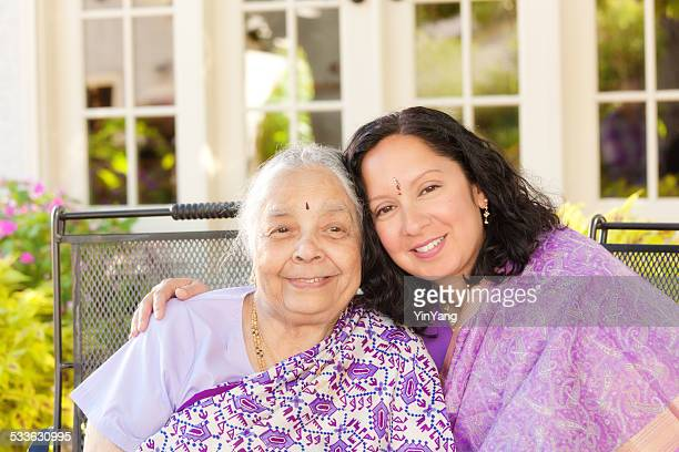 Indian Family—Mother and Daughter in Sari Dress Horizontal