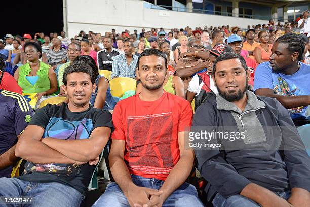 Indian fans at the Third Match of the Cricket Caribbean Premier League between Barbados Tridents v Antigua Hawksbills at Kensington Oval on August 1...