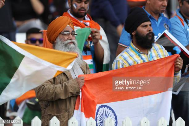 Indian fans celebrate a boundary during The Womens World Cup 2017 SemiFinal between Australia and India at The County Ground on July 20 2017 in Derby...