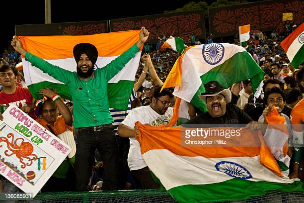 Indian fans celebrate at the Cricket World Cup semifinal match against Pakistan at the Punjab Cricket Association Stadium Mohali India 30th March...