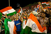Indian fans celebrate during Cricket world cup