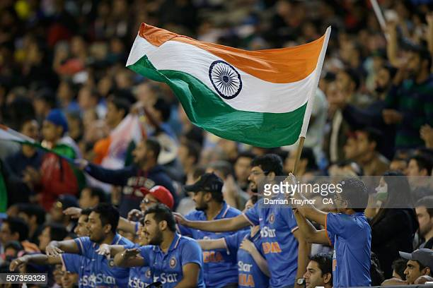 Indian fans cheer during the International Twenty20 match between Australia and India at Melbourne Cricket Ground on January 29 2016 in Melbourne...