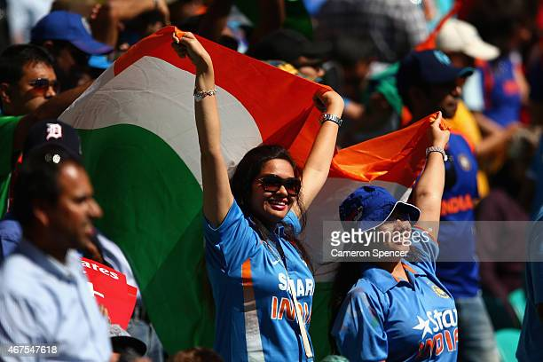 Indian fans enjoy the atmosphere during the 2015 Cricket World Cup Semi Final match between Australia and India at Sydney Cricket Ground on March 26...