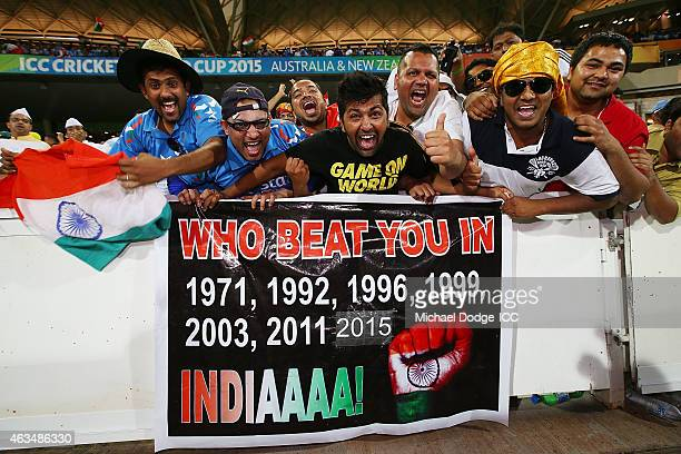 Indian fans show their support during the 2015 ICC Cricket World Cup match between India and Pakistan at Adelaide Oval on February 15 2015 in...